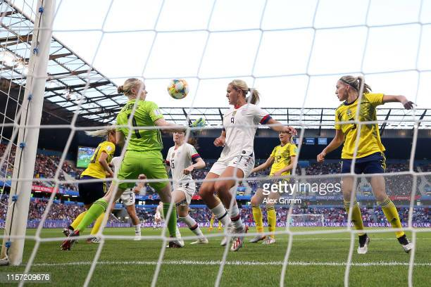 Hedvig Lindahl of Sweden makes a save during the 2019 FIFA Women's World Cup France group F match between Sweden and USA at Stade Oceane on June 20...