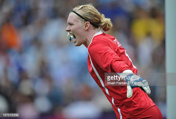 Hedvig Lindahl of Sweden ponders during the Women's Football first round Group F Match of the London 2012 Olympic Games between Japan and Sweden at...