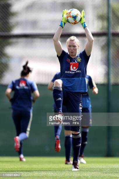 Hedvig Lindahl of Sweden runs through drills during a training session at Stade CharlesEhrmann on June 14 2019 in Nice France