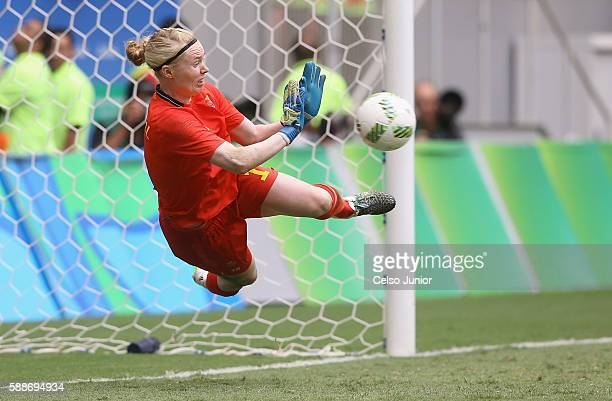Hedvig Lindahl of Sweden saves a penalty shot during the penalty shoot out against the United States during the Women's Football Quarterfinal match...