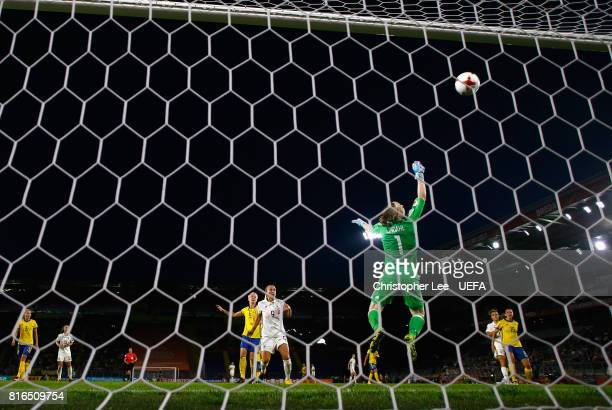 Hedvig Lindahl of Sweden saves from a shot by Mandy Islacker of Germany during the UEFA Women's Euro 2017 Group B match between Germany and Sweden at...