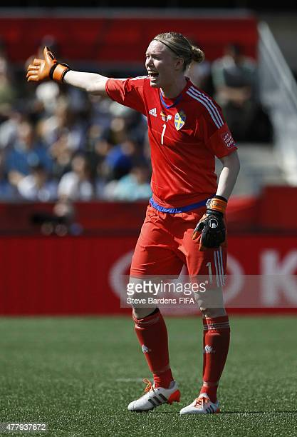Hedvig Lindhal of Sweden shouts instructions during the FIFA Women's World Cup 2015 round of 16 match between Germany and Sweden at Lansdowne Stadium...