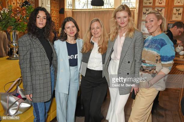 Hedvig Opshaug Sophie Goodwin Astrid Harbord Candice Lake and Olivia Buckingham attend the Espie Roche launch breakfast at The Chess Club on March 13...
