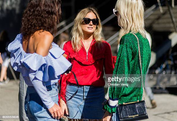 Hedvig Sagfjord Opshaug Lucy Williams Linda Tol outside Tory Burch on September 13 2016 in New York City