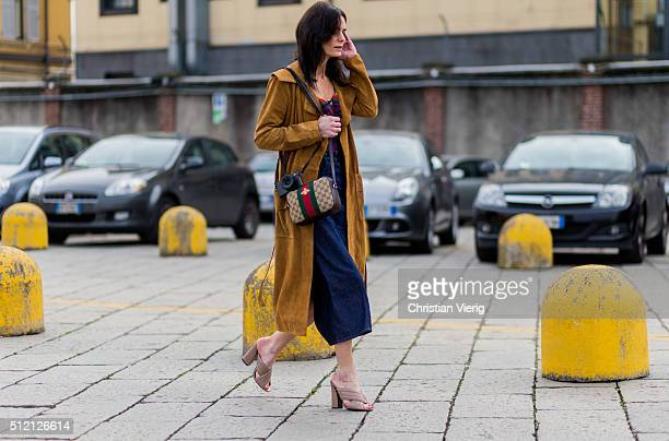 Hedvig Sagfjord Opshaug wearing Gucci bag and shoes seen outside Gucci during Milan Fashion Week Fall/Winter 2016/17 on February 24 2016 in Milan...