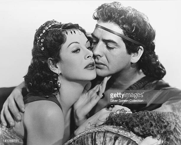 Hedy Lamarr Austrian actress and Victor Mature US actor both in costume in a publicity portrait issued for the film 'Samson and Delilah' 1949 The...