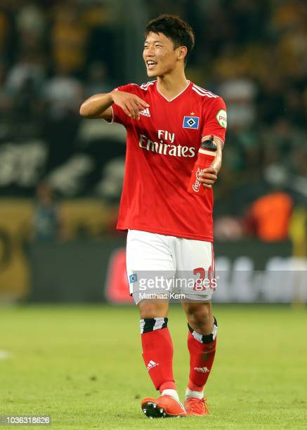 Hee Chan Hwang of Hamburg looks on after the Second Bundesliga match between SG Dynamo Dresden and Hamburger SV at DDVStadion on September 18 2018 in...
