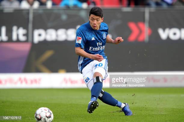 Hee Chan Hwang of Hamburg scores the 2nd team goal during the Second Bundesliga match between FC Ingolstadt 04 and Hamburger SV at Audi Sportpark on...