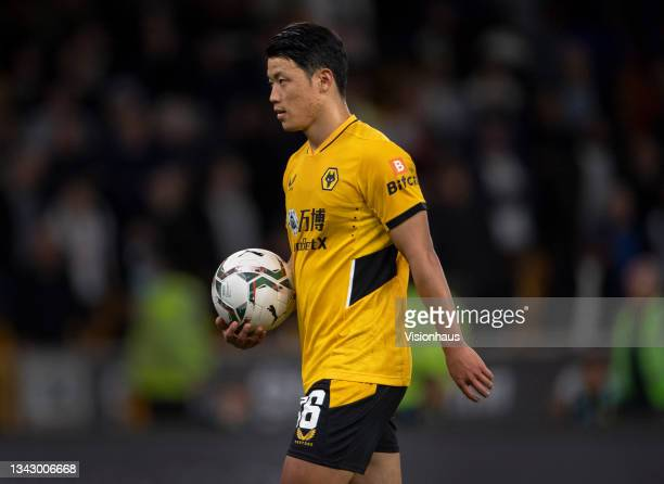 Hee Chan Hwang of Wolverhampton Wanderers prepares to take a penalty during the shoot out of the Carabao Cup Third Round match between Wolverhampton...
