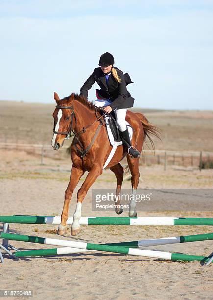 hee ha - springen paardensport stockfoto's en -beelden