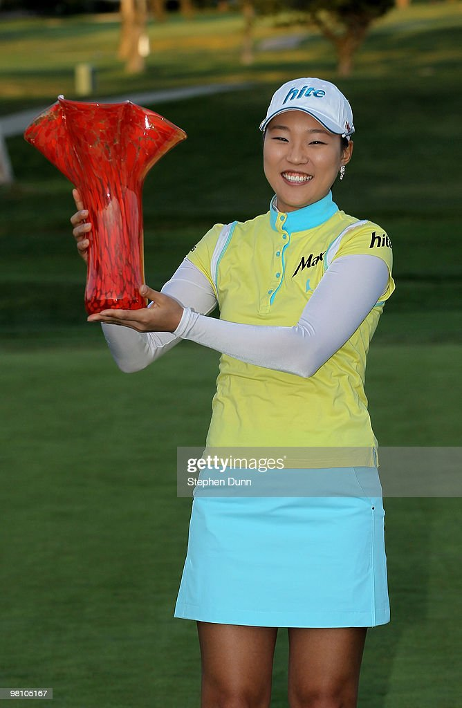Hee Kyung Seo of South Korea holds up the trophy after the final round of the Kia Classic Presented by J Golf at La Costa Resort and Spa on March 28, 2010 in Carlsbad, California.