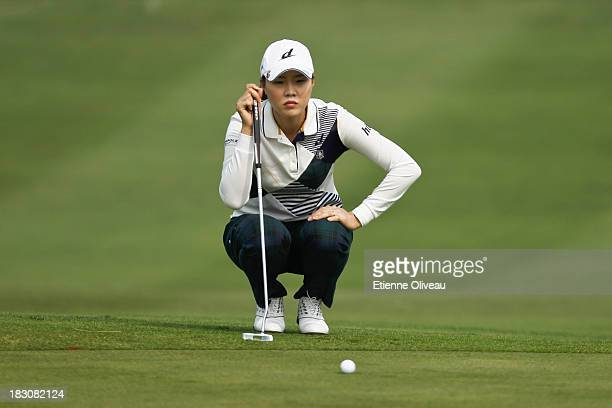 Hee Kyung Seo of South Korea reacts to her shot during the second round of the Reignwood LPGA Classic at Pine Valley Golf Club on October 4 2013 in...