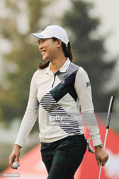 Hee Kyung Seo of South Korea smiles after a succesful putt during the second round of the Reignwood LPGA Classic at Pine Valley Golf Club on October...
