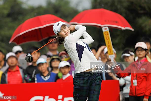 Hee Kyung Seo of South Korea tees off during the second round of the Reignwood LPGA Classic at Pine Valley Golf Club on October 4 2013 in Beijing...