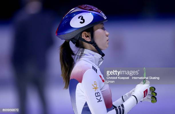 Hee Suk Shim of Korea prepares during the Audi ISU World Cup Short Track Speed Skating at Bok Hall on September 30 2017 in Budapest Hungary