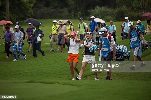 Hee Young Park Left So Yeon Ryu Centre talks during the Fubon Taiwan LPGA Championship on October 8 2016 in Taipei Taiwan