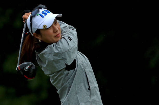 Hee Young Park of Korea hits her tee shot on the 15th hole during the first round of the Gainbridge LPGA at Boca Rio on January 23 2020 in Boca Raton...