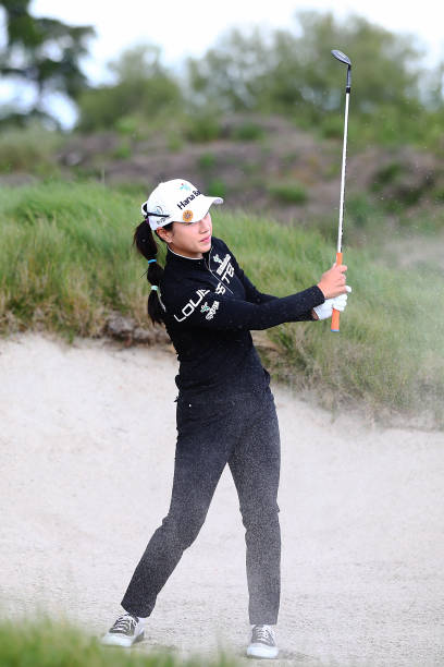 Hee Young Park of Korea plays a shot out of the bunker during day one of the McKayson New Zealand Women's Open at Windross Farm on September 28 2017...