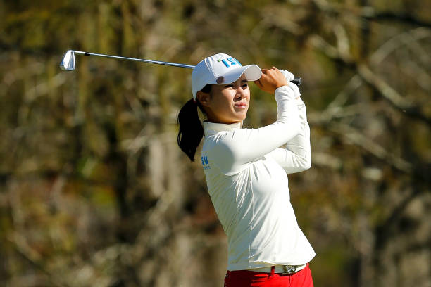 Hee Young Park of Korea plays her shot from the eighth tee during the third round of the LPGA CME Group Tour Championship at Tiburon Golf Club on...