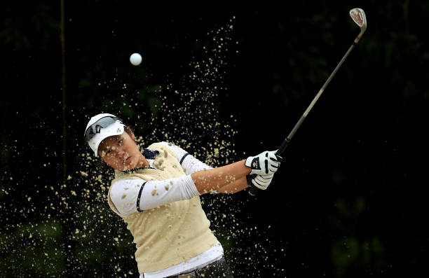 Hee Young Park of Korea plays out of the bunker on the 18th hole during the second round of the LPGA Gainbridge at Boca Rio on January 24 2020 in...