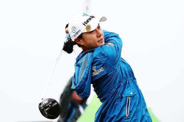 Hee Young Park of Korea tees off during day four of the New Zealand Women's Open at Windross Farm on October 1 2017 in Auckland New Zealand