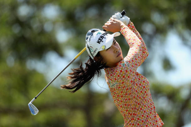 Hee Young Park of Republic of Korea plays a tee shot on the eighth hole during the first round of the LPGA LOTTE Championship Presented By Hershey at...