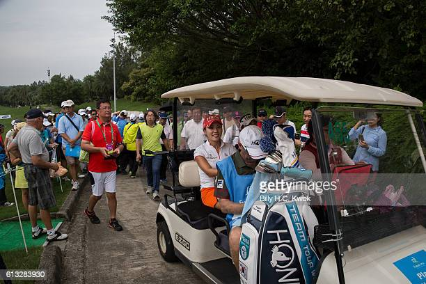 Hee Young Park of Republic of Korea react to her fans in the Fubon Taiwan LPGA Championship on October 8 2016 in Taipei Taiwan