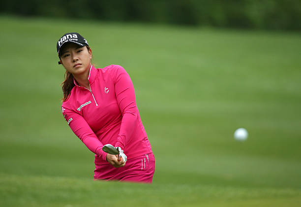 Hee Young Park of South Korea chips onto the green on the 14th hole during the final round of the Kingsmill Championship presented by JTBC on the...