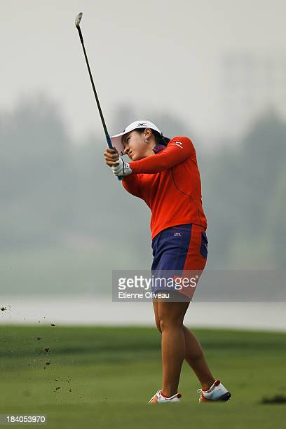 Hee Young Park of South Korea hits a fairway shot during the second round of the Reignwood LPGA Classic at Pine Valley Golf Club on October 4 2013 in...