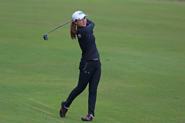 Hee Young Park of South Korea hits her second shot on the eighth hole during the LPGA QSeries presented by Blue Cross and Blue Shield North Carolina...
