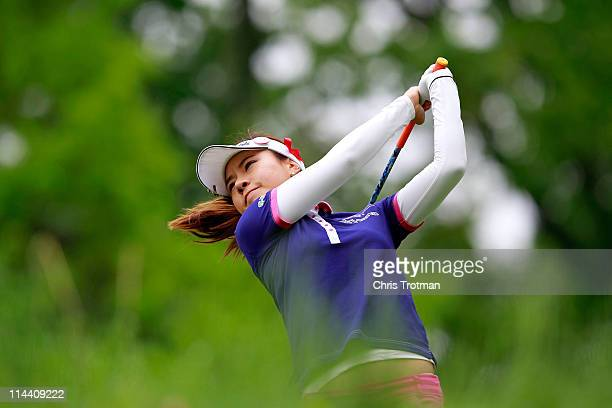 Hee Young Park of South Korea hits her tee shot on the second hole during round one of the Sybase Match Play Championship at Hamilton Farm Golf Club...