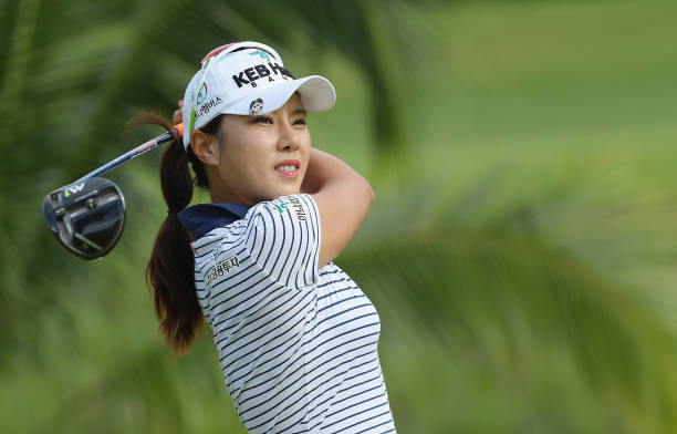 Hee Young Park of South Korea hits her tee shot on the second hole during the first round of the HSBC Women's Champions on the Tanjong Course at...