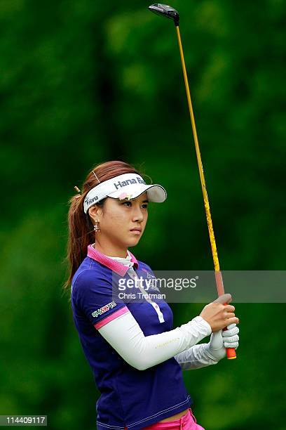 Hee Young Park of South Korea hits her tee shot on the third hole during round one of the Sybase Match Play Championship at Hamilton Farm Golf Club...