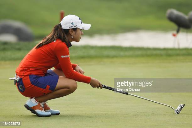 Hee Young Park of South Korea lines up a putt during the second round of the Reignwood LPGA Classic at Pine Valley Golf Club on October 4 2013 in...