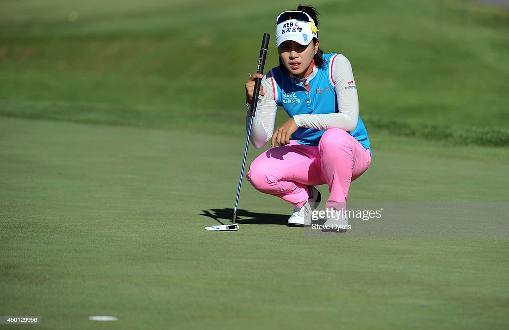 Hee Young Park, of South Korea, lines up a putt on the ninth hole during the first round of the Manulife Financial LPGA Classic at the Grey Silo Golf Course on June 5, 2014 in Waterloo, Ontario, Canada.