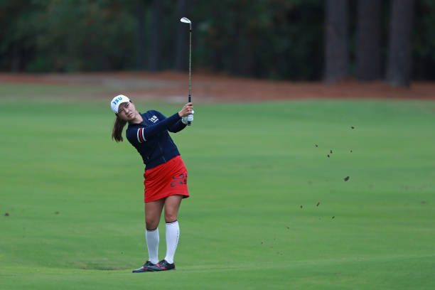 Hee Young Park of South Korea plays a shot during the LPGA QSeries presented by Blue Cross and Blue Shield North Carolina at Pinehurst No 9 on...