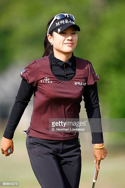 Hee Young Park of South Korea walks off the 15th hole after making a putt during the first round of the SemGroup Championship presented by John Q...