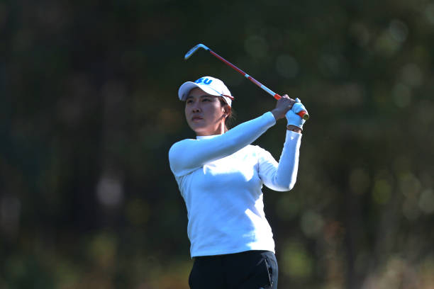 Hee Young Park of South Korea watches her tee shot on the 17th hole during round 7 of the LPGA QSeries presented by Blue Cross and Blue Shield North...