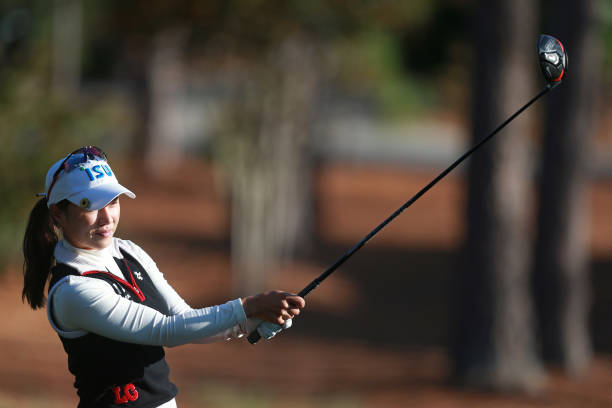 Hee Young Park of South Korea watches her tee shot on the 18th hole during the final round of the LPGA QSeries presented by Blue Cross and Blue...