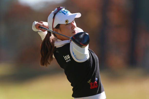 Hee Young Park of South Korea watches her tee shot on the first hole during the final round of the LPGA QSeries presented by Blue Cross and Blue...