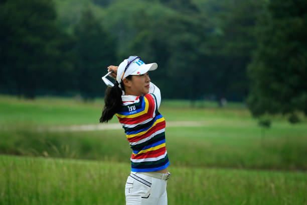 Hee Young Park of the Republic of Korea hits a shot during the second round of the ShopRite LPGA Classic Presented by Acer on the Bay Course at...