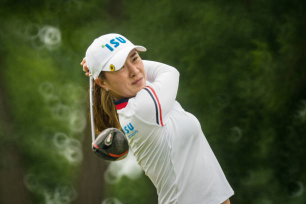 Hee Young Park of the Republic of Korea hits her tee shot on the seventh hole during the second round for the 65th KPMG Womens PGA Championship held...