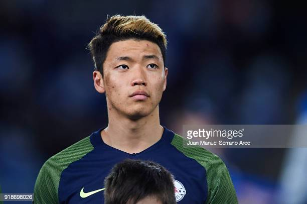 HeeChan Hwang of FC Red Bull Salzburg reacts during UEFA Europa League Round of 32 match between Real Sociedad and FC Red Bull Salzburg at the...