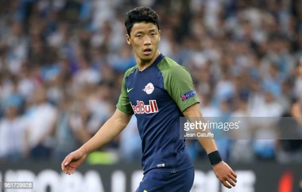 HeeChan Hwang of RB Salzburg during the UEFA Europa League semi final first leg match between Olympique de Marseille and FC Red Bull Salzburg at...