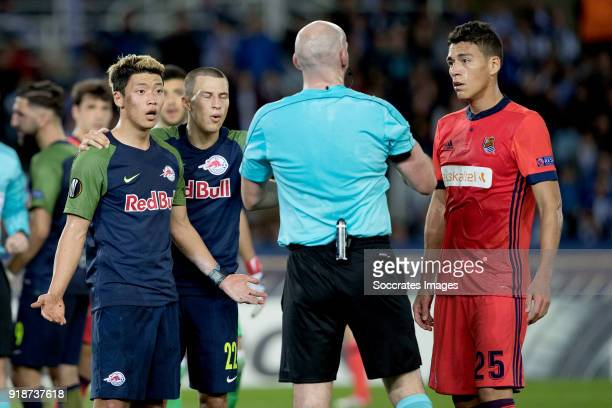 HeeChan Hwang of Red Bull Salzburg Stefan Lainer of Red Bull Salzburg Hector Moreno of Real Sociedad during the UEFA Europa League match between Real...