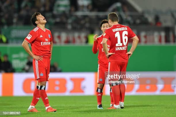 Heechan Hwangof Hamburg reacts after the Second Bundesliga match between SpVgg Greuther Fuerth and Hamburger SV at Sportpark Ronhof Thomas Sommer on...