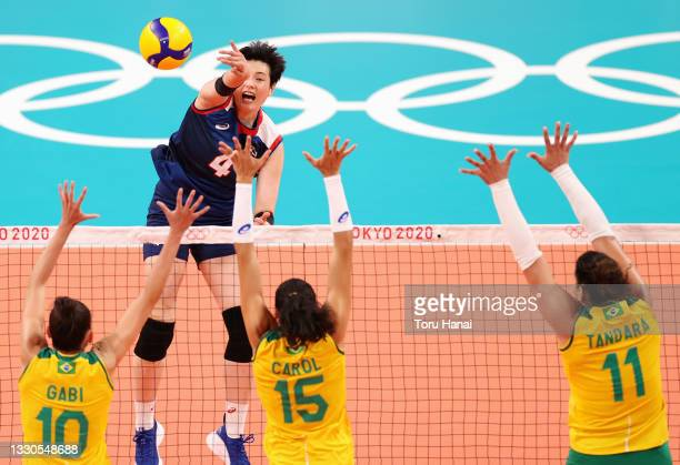 Heejin Kim of Team South Korea competes against Team Brazil during the Women's Preliminary - Pool A on day two of the Tokyo 2020 Olympic Games at...
