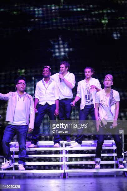 Heejun Han Joshua Ledet Phillip Phillips DeAndre Brackensick and Colton Dixon perform during the American Idol Live Summer Tour presented by Chips...