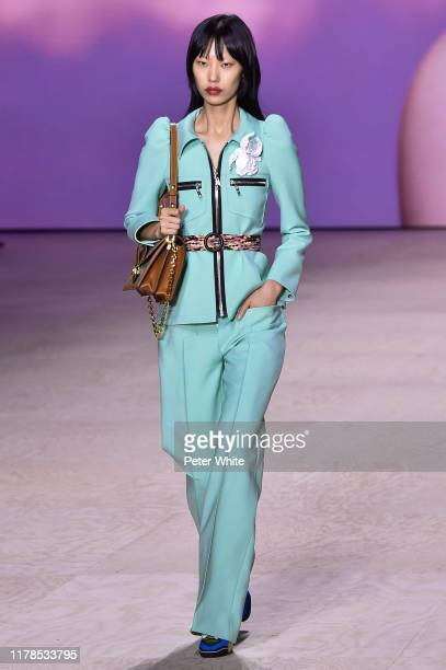 Heejung Park walks the runway during the Louis Vuitton Womenswear Spring/Summer 2020 show as part of Paris Fashion Week on October 01, 2019 in Paris,...