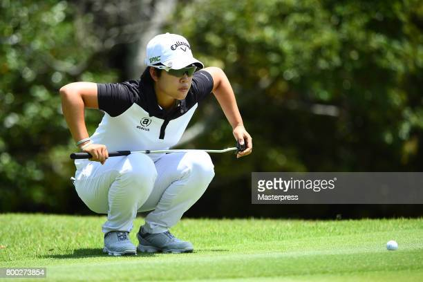 HeeKyung Bae of South Korea lines up during the third round of the Earth Mondamin Cup at the Camellia Hills Country Club on June 24 2017 in Sodegaura...